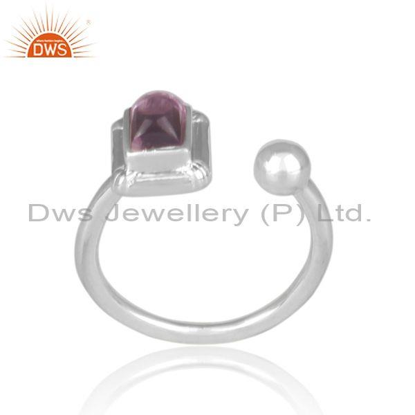 Rectangular cut amethyst set fine sterling silver open ring