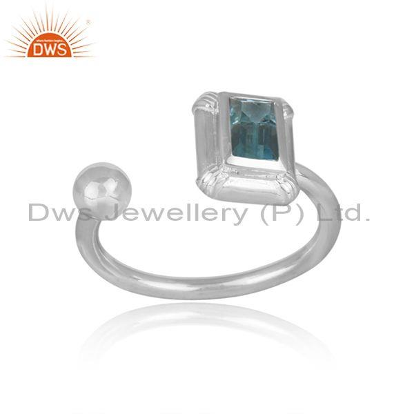 Rectangular cut blue topaz set fine 925 silver open ring