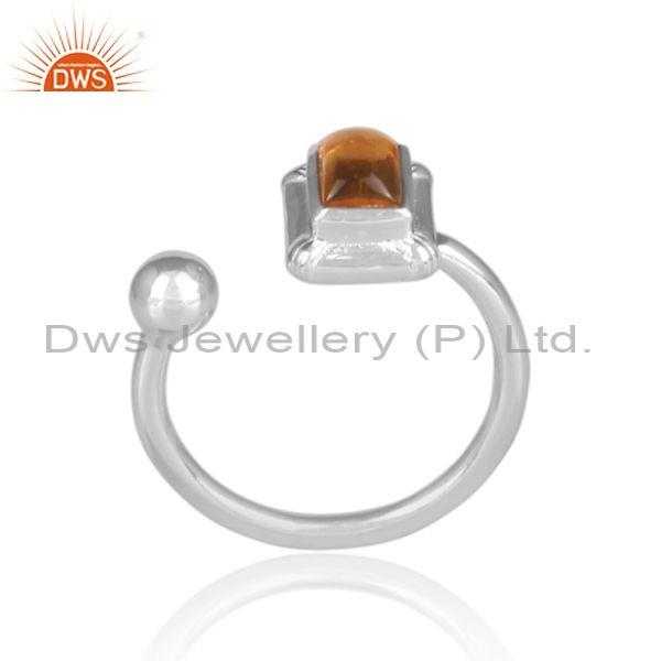 Rectangular cut citrine set fine sterling silver open ring