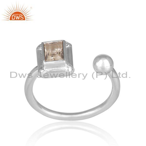 Rectangular cut crystal quartz set fine 925 silver open ring