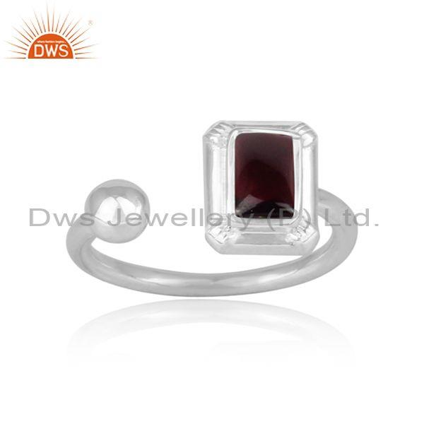 Rectangular cut garnet set fine sterling silver open ring