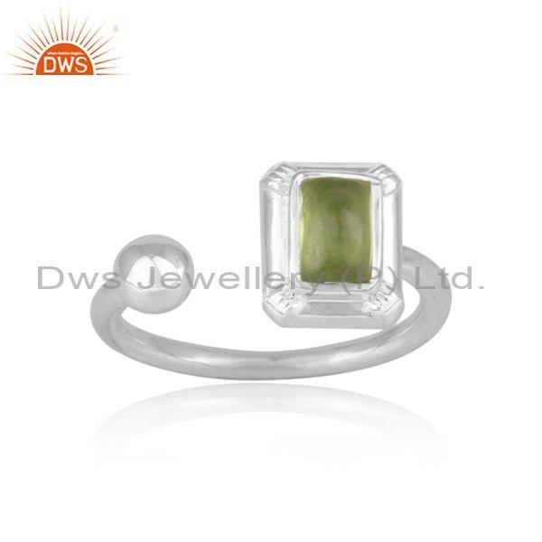 Rectangular Cut Peridot Set Fine Sterling Silver Open Ring