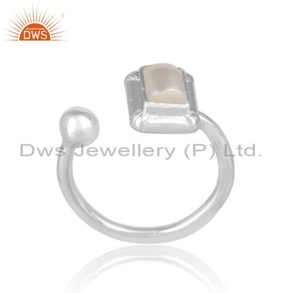 Rectangular cut pearl set fine 925 sterling silver open ring