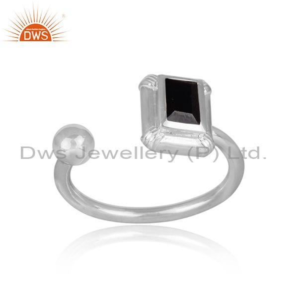 Black spinal set fine 925 sterling silver fancy open ring