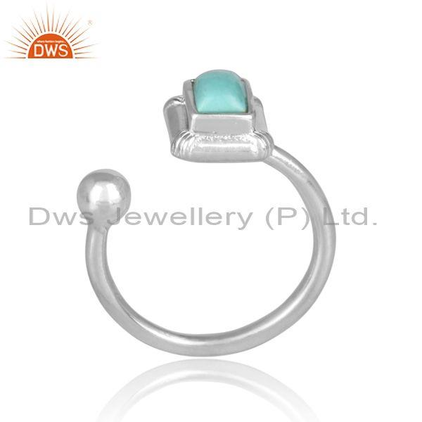 Arizona turquoise set fine sterling silver fancy open ring