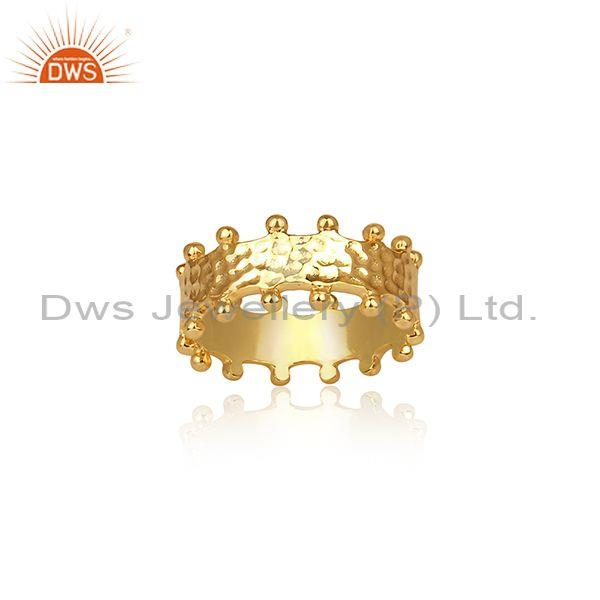 Gold On Sterling Silver Meta Art Effect Band Type Crown Ring