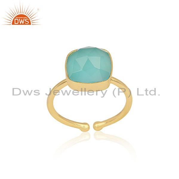 Square Cut Aqua Chalcedony Set Gold On Sterling Silver Ring