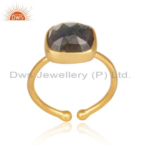 Labradorite set gold on 925 silver casual statement ring