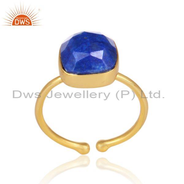 Lapis set gold on 925 sterling silver casual statement ring