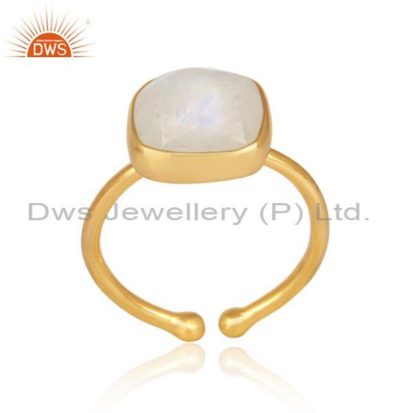 Rainbow moon stone set gold on silver casual statement ring