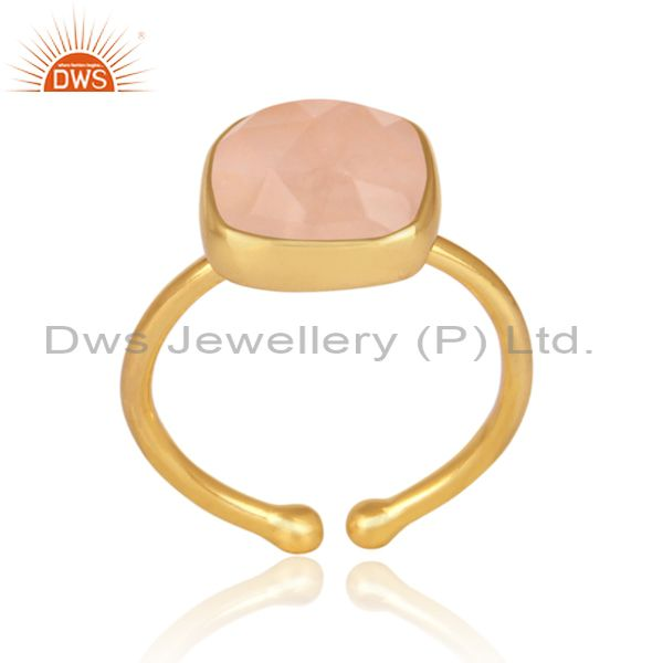 Rose quartz set gold on 925 silver casual statement ring