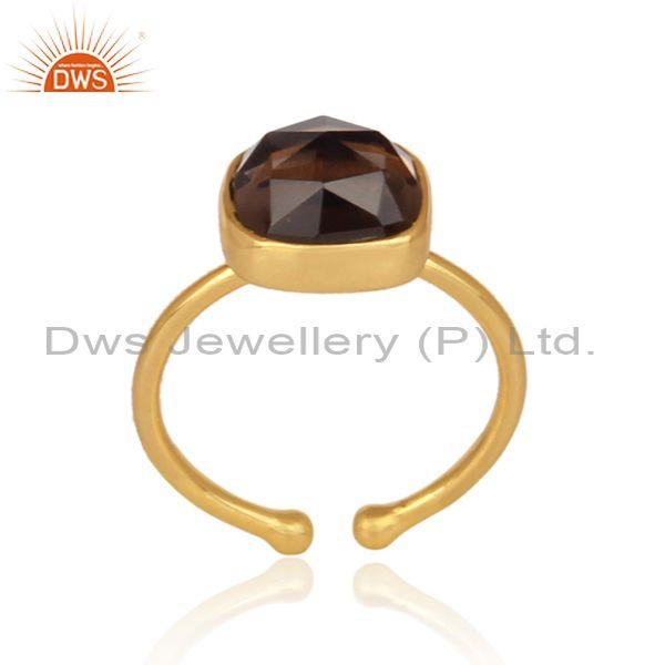 Smoky set gold on 925 sterling silver casual statement ring