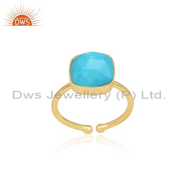 Square Cut Turquoise Set Gold On 925 Sterling Silver Ring