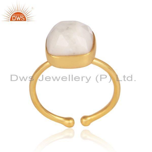 Howlite Set Gold On Sterling Silver Casual Statement Ring