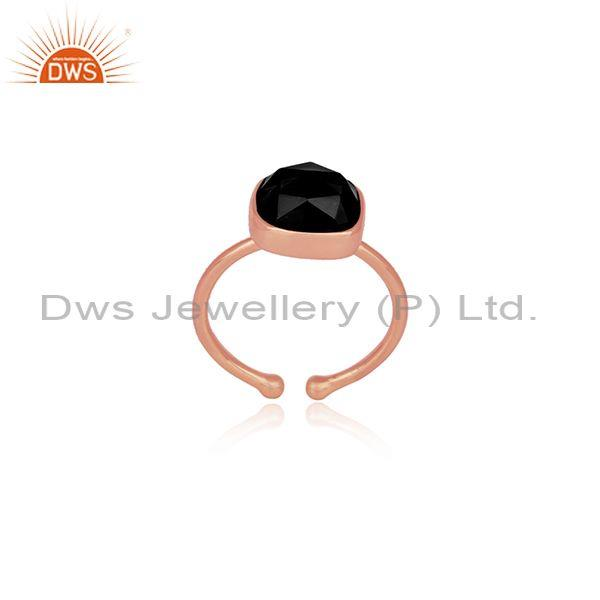 Abstract Cut Black Onyx Set Rose Gold On Silver Classic Ring