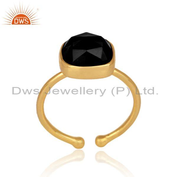 Black onyx set gold on sterling silver casual statement ring