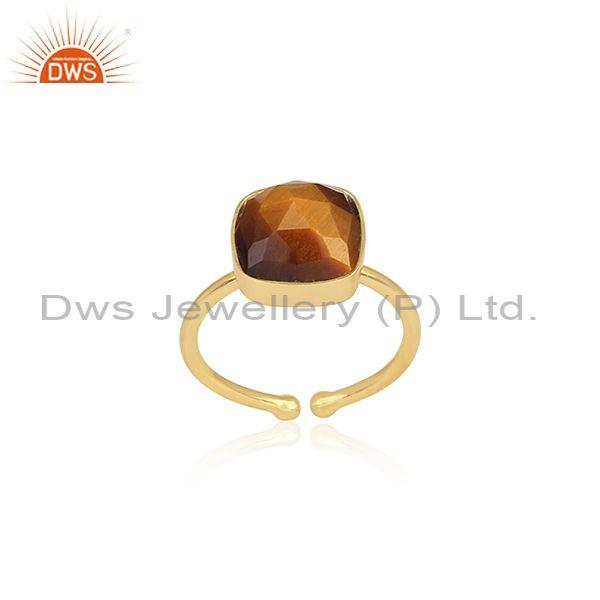 Square Cut Tiger Eye Set Gold On 925 Sterling Silver Ring