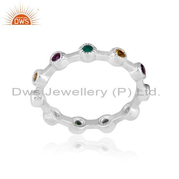 Amethyst, Citrine, And Green Onyx Fine Sterling Silver Ring