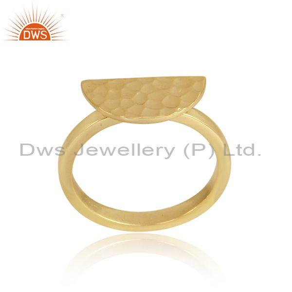 Semicircle Charm Set Gold On Sterling Silver Designer Ring