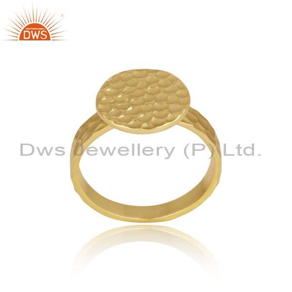 Circular Charm Set Gold On 925 Sterling Silver Designer Ring
