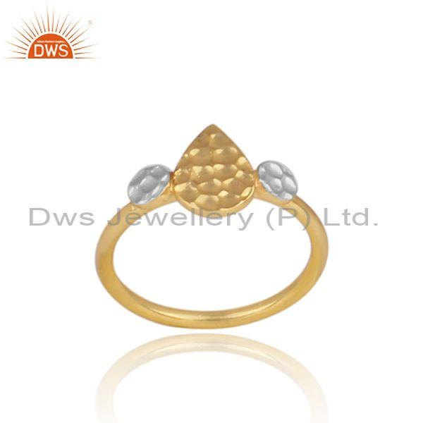 Pear shaped charm set gold and fine 925 silver designer ring