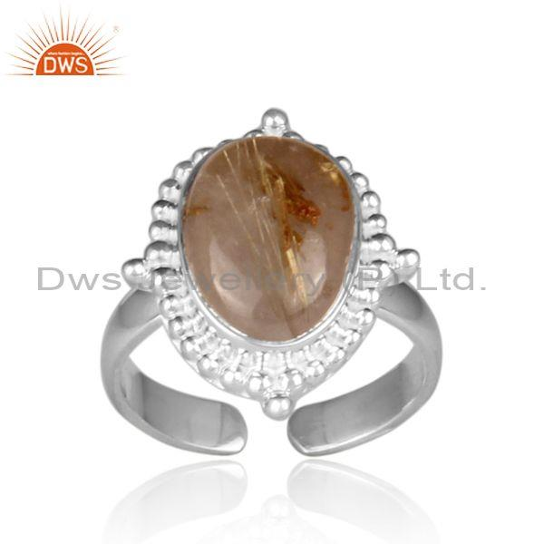 Oval golden rutile set fine 925 sterling silver casual ring