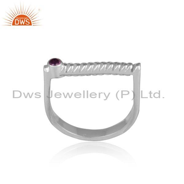 Amethyst Set Handmade Twisted Fine 925 Silver Abstract Ring