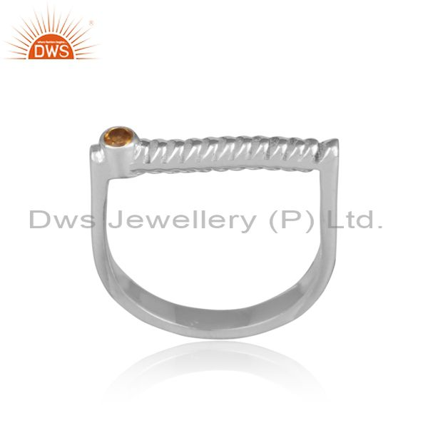 Citrine Set Handmade Twisted Fine 925 Silver Abstract Ring