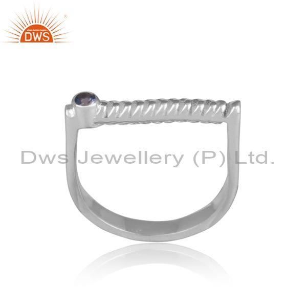 Iolite set handmade twisted fine 925 silver abstract ring