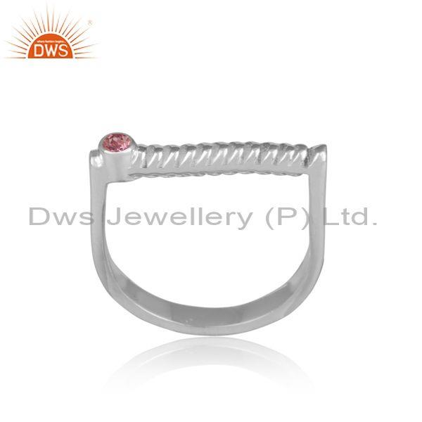 Pink tourmaline set handmade fine 925 silver abstract ring