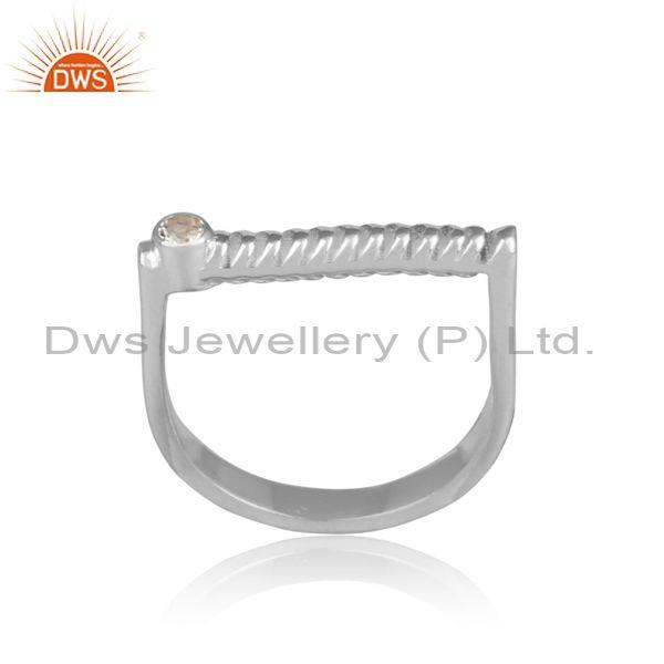 White topaz set handmade twisted fine silver abstract ring