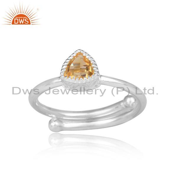 Citrine Set Fine Sterling Silver Triangular Designer Ring