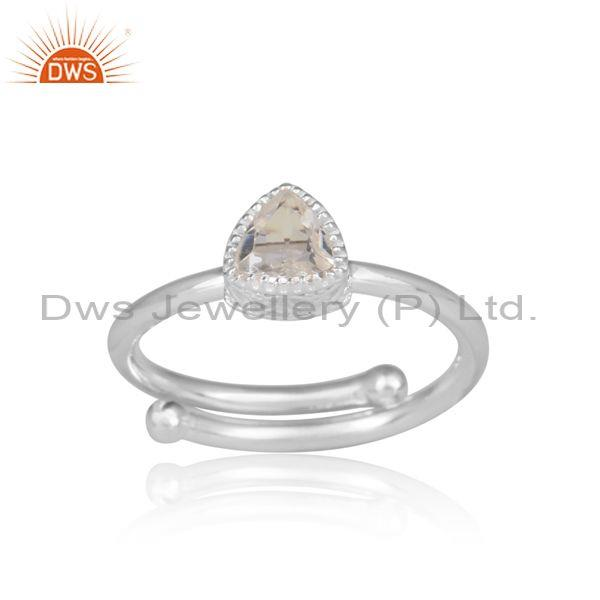 Crystal Quartz Set Fine 925 Silver Triangular Designer Ring