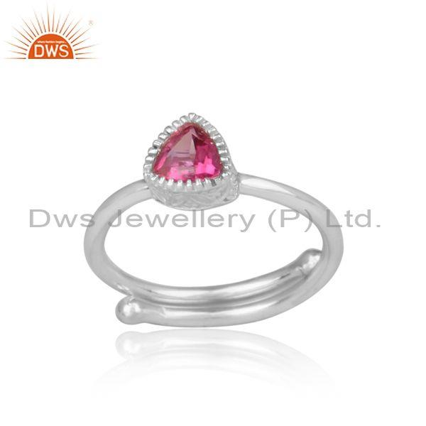 Pink Topaz Set Fine Sterling Silver Triangular Designer Ring