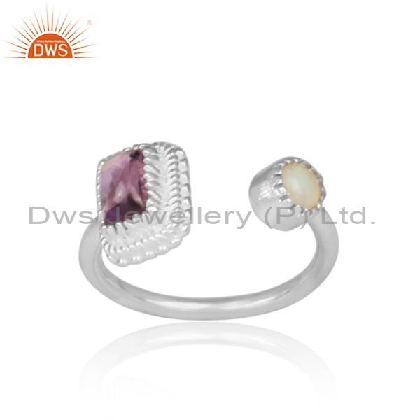 Amethyst and ethiopian opal set fine 925 silver open ring
