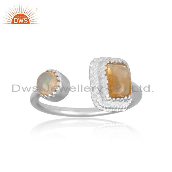 Citrine and ethiopian opal set fine 925 silver open ring