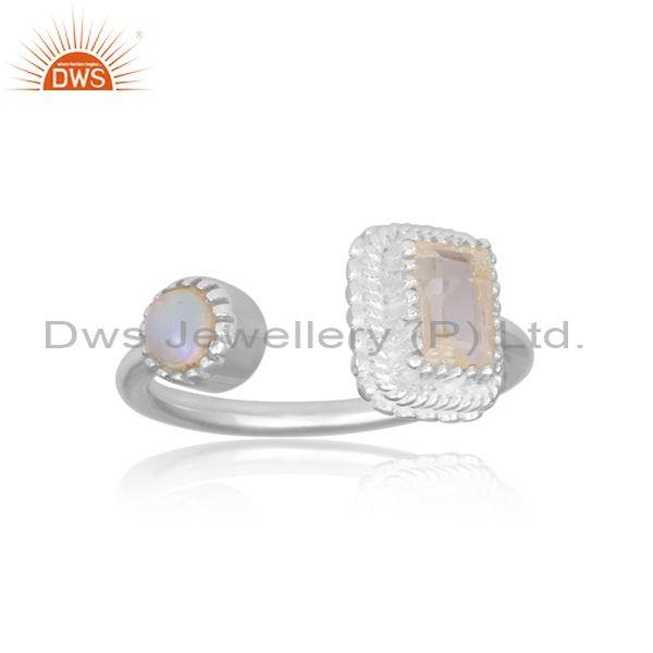 Crystal quartz and ethiopian opal set fine silver open ring