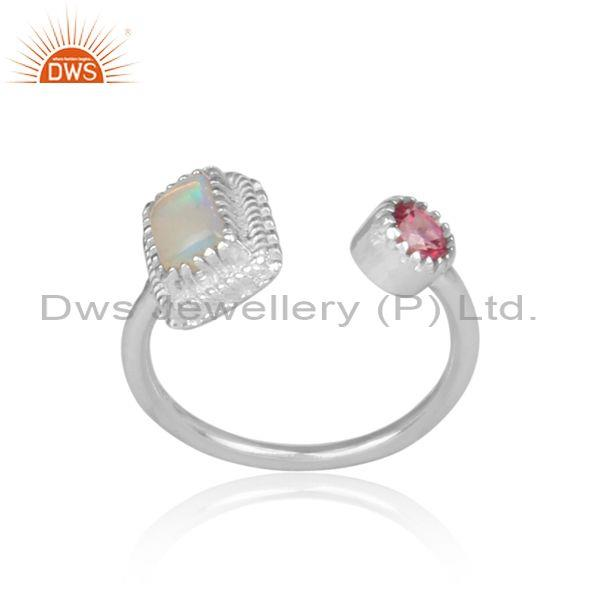 Ethiopian Opal And Pink Topaz Set Fine 925 Silver Open Ring