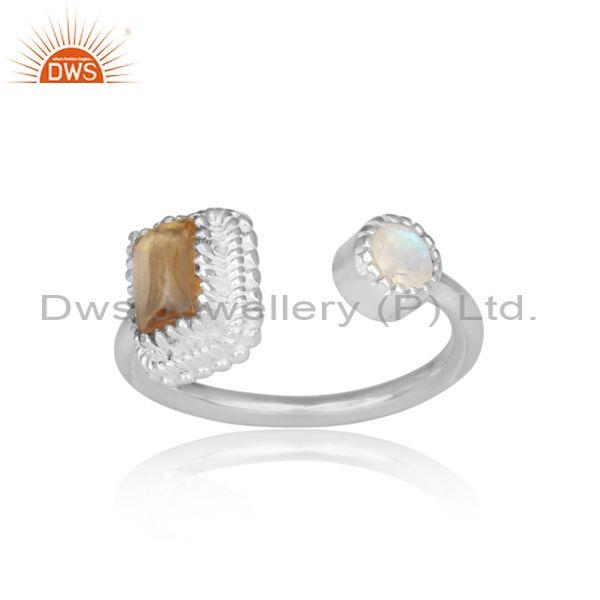 Citrine and rainbow moon stone set fine 925 silver open ring
