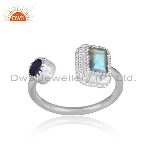 Labradorite and blue sapphire set fine 925 silver open ring