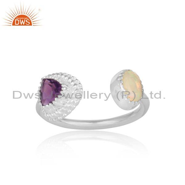 Ethiopian opal and amethyst set fine 925 silver open ring