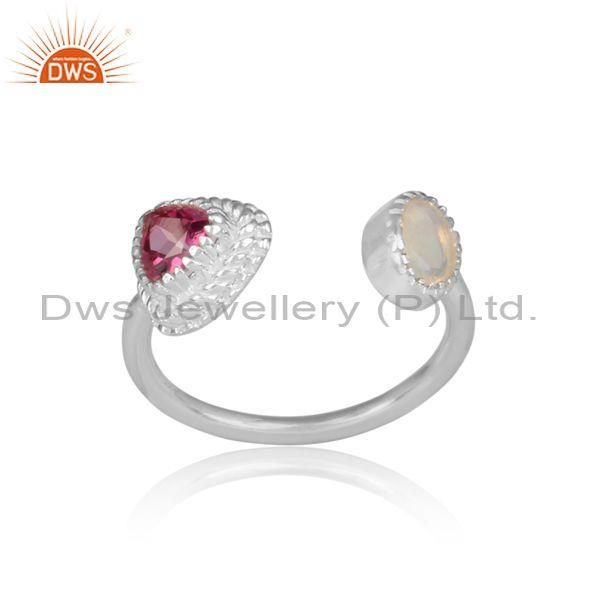 Round ethiopian opal and pink topaz fine silver open ring