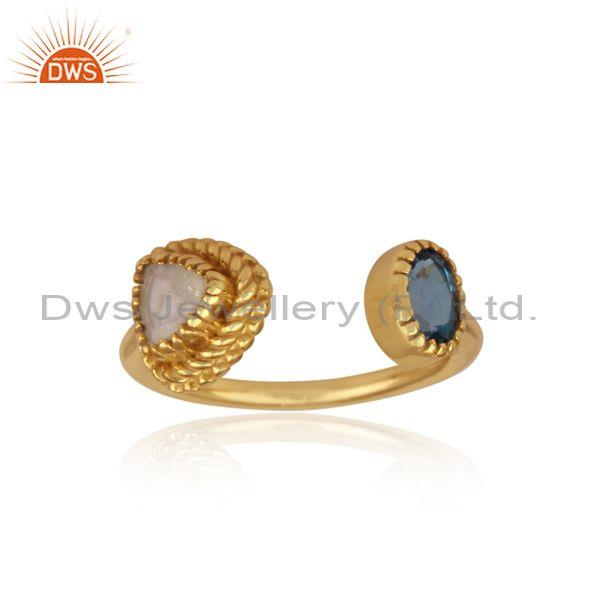 London Blue Topaz, Rainbow Moon Stone Gold On Silver Ring