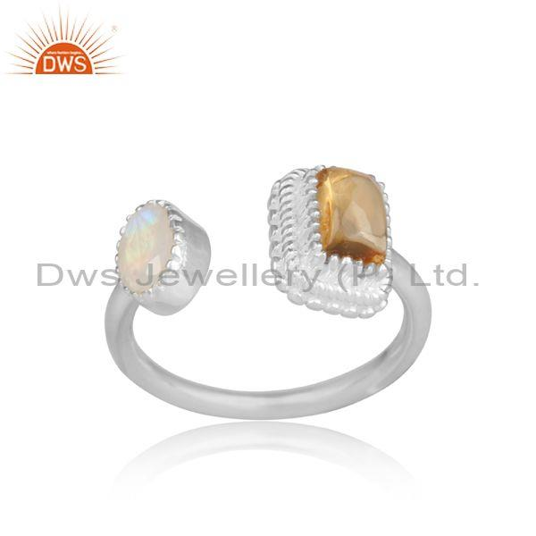 Citrine And Rainbow Moon Stone Set Fine Silver Open Rings