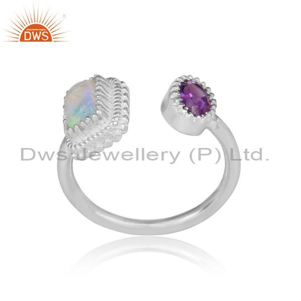 Ethiopian opal and round amethyst set fine silver open ring