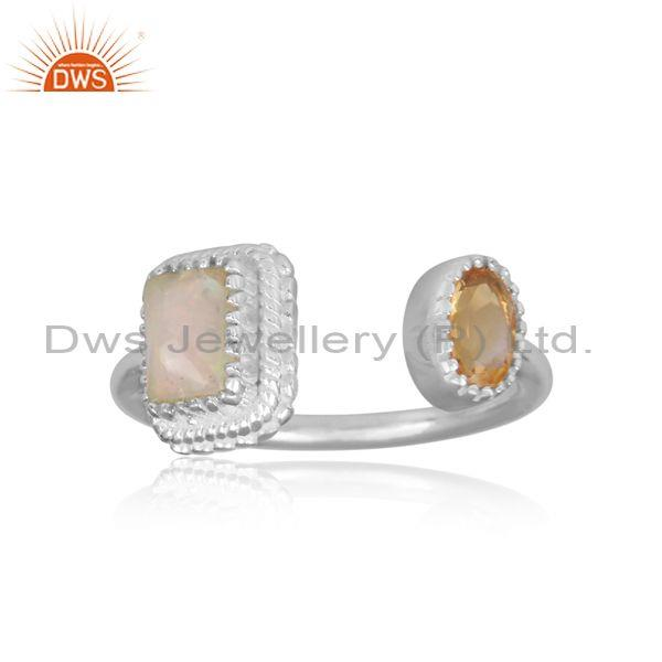 Ethiopian opal and round citrine set fine silver open ring