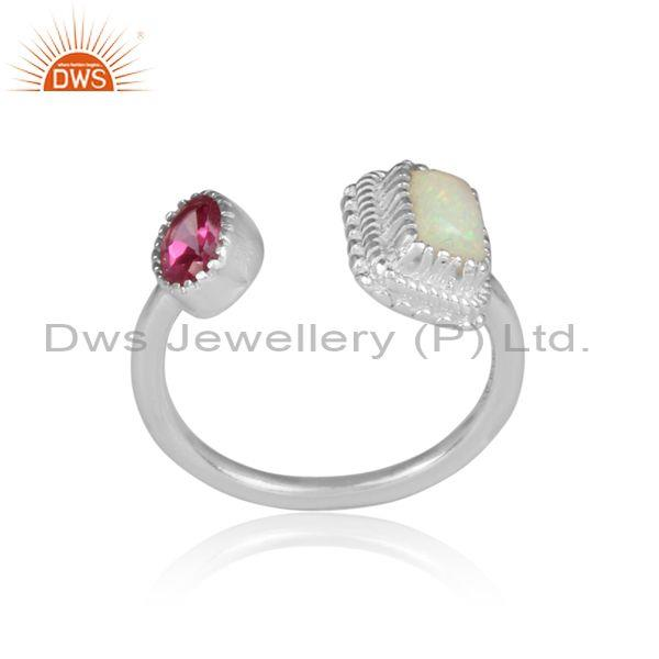 Ethiopian opal, round pink topaz set fine silver open ring