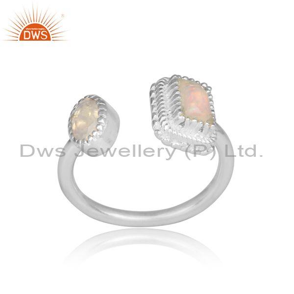 Ethiopian opal and rainbow moon stone fine silver open ring