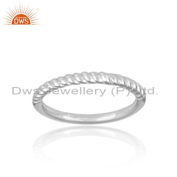 Handmade 925 sterling silver twisted statement band ring