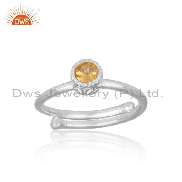 Round cut citrine set fine 925 sterling silver handmade ring